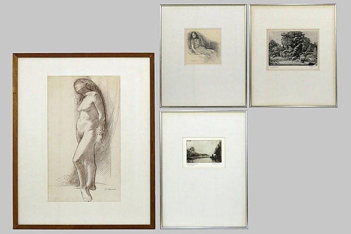 2 etchings and 2 drawings - signed