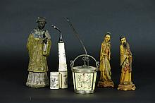 5 different oriental items with a Chinese sculpture in painted bronze