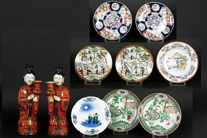 10 plates and 2 figures in Japanese or Chinese porcelain