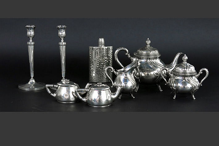 several silverplated items