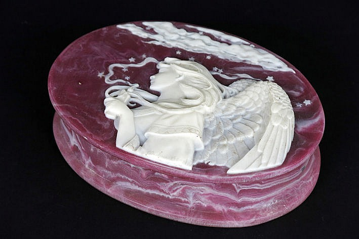oval box with lid with a decor with angel - in white and dark p�te de verre - marked