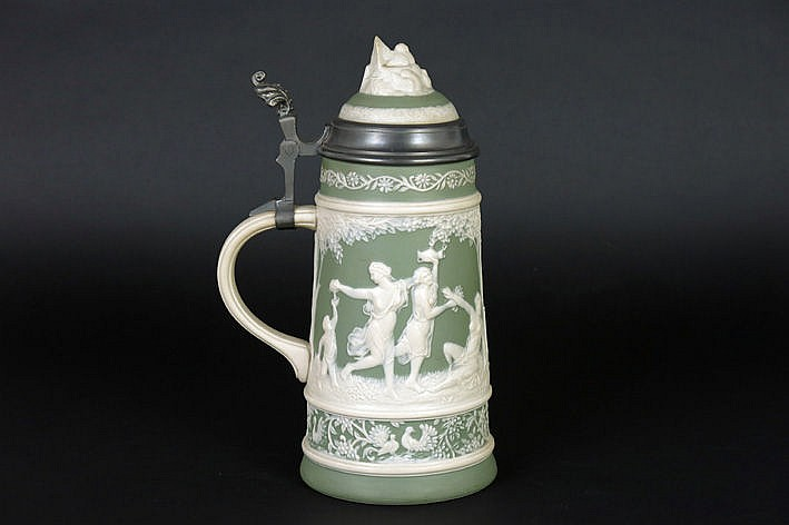 antique lidded Wedgwood pitcher