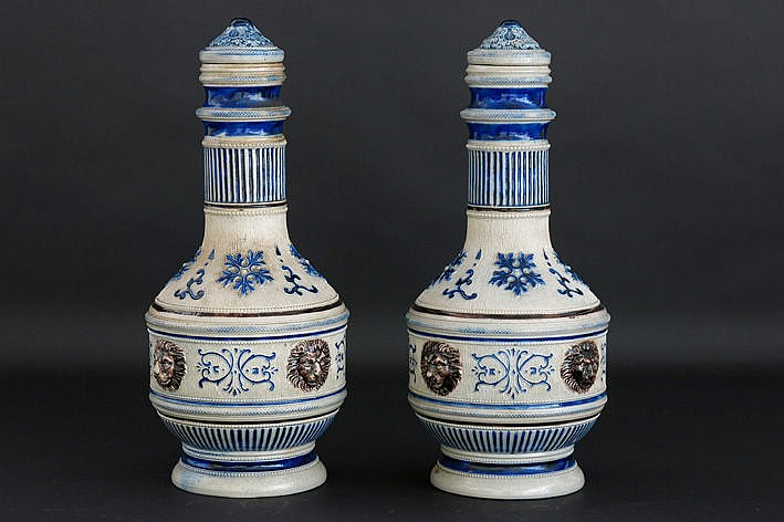 pair of (�) lidded pitchers in German Gr�s with Renaissance-decor