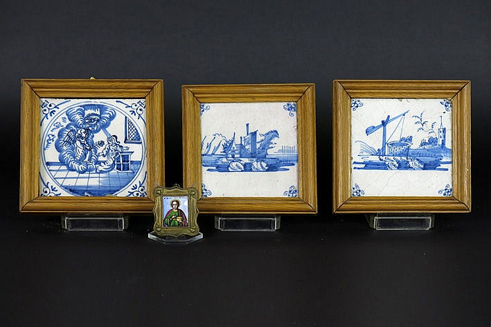 3 antique framed tiles in earthenware from Delft and a small antique icon (enamel)