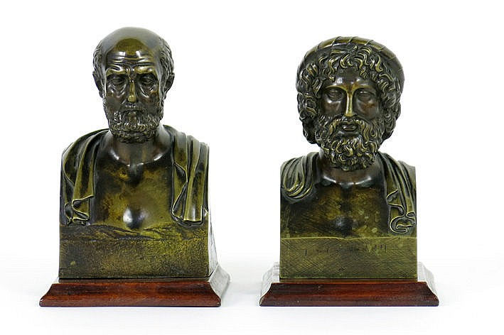 pair of (�) antique busts in bronze