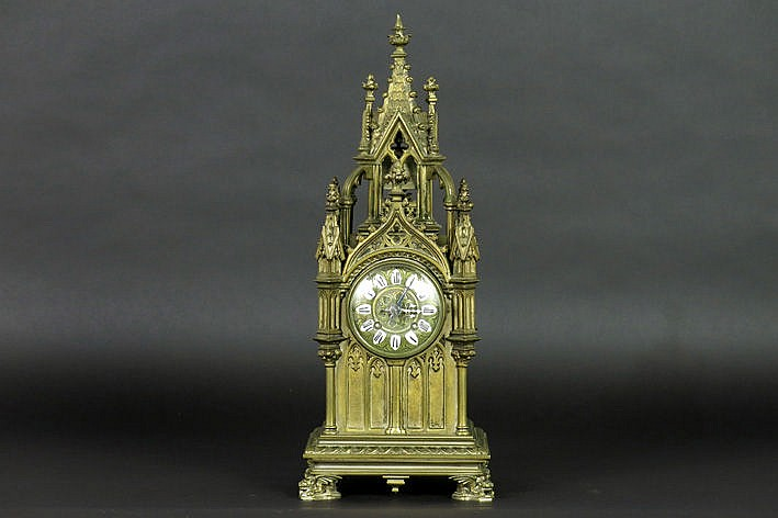 antique 'cathedral' clock with bronze case in the shape of a church tower