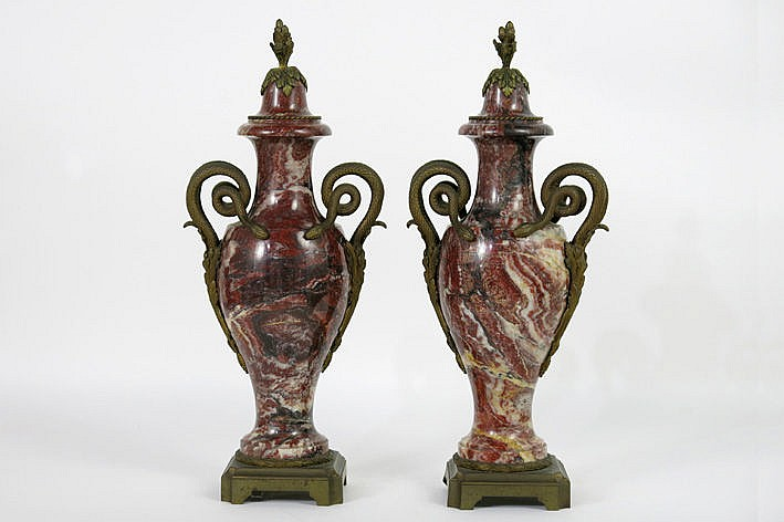 pair of (�) antique lidded cassolette vases in marble and bronze