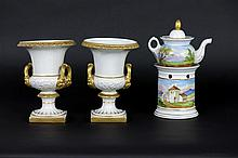 set (3) with a tea pot with heater and a pair of small urn-shaped Empire-vases in porcelain