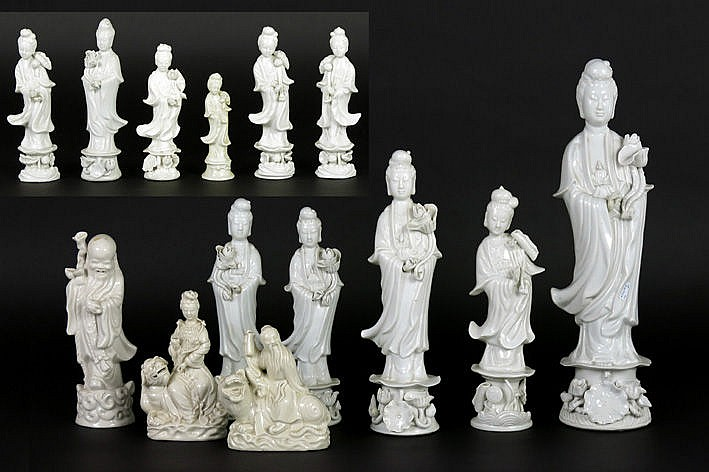 14 Chinese sculptures mostly with the depiction of Quan Yin