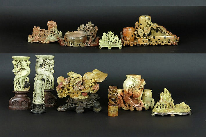 11 Chinese sculptures in 'soapstone'