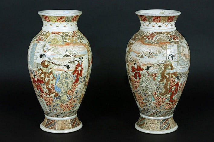 pair of antique Japanese vases in Satsuma-earthenware