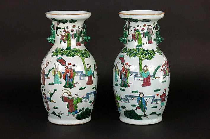 pair of Chinese vases in porcelain