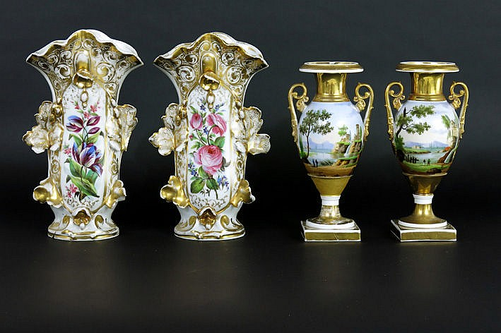 two pairs of 19th Cent. vases in old Paris porcelain