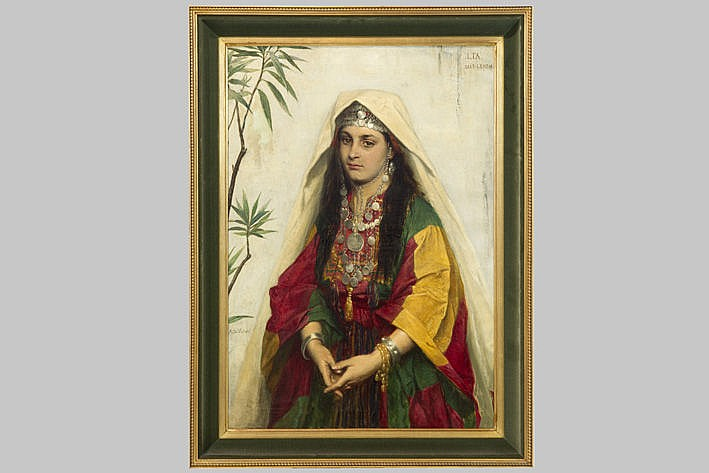 19th Cent. oil on canvas with an attractive orientalistic theme - signed