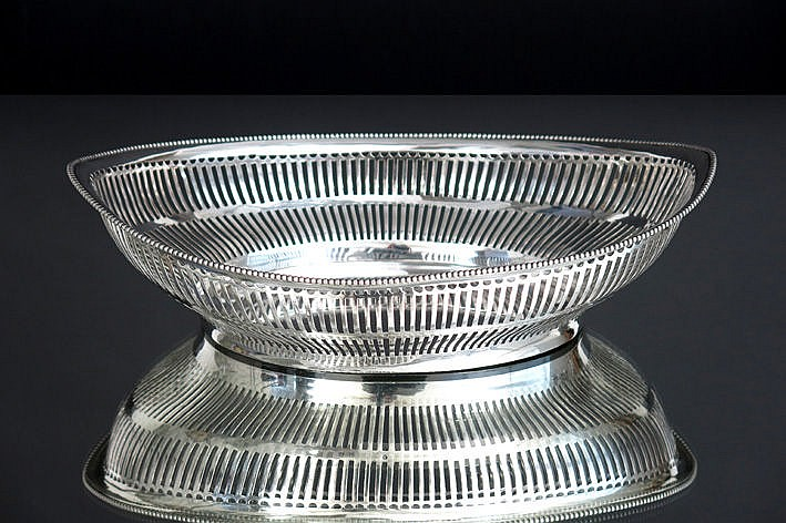 oval Dutch basket in marked silver