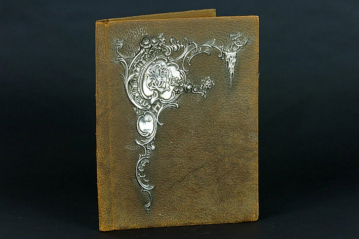 antique portfolio in leather and silver