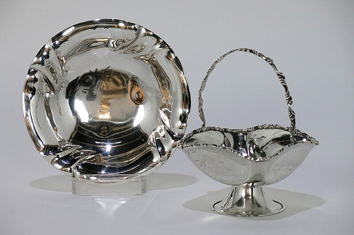 German bowl in marked silver and a Mexcian flower basket in marked and signed silver