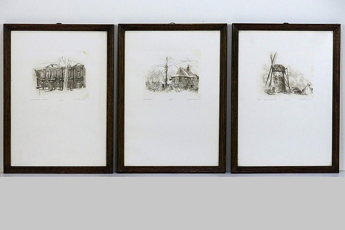 3 etchings - signed