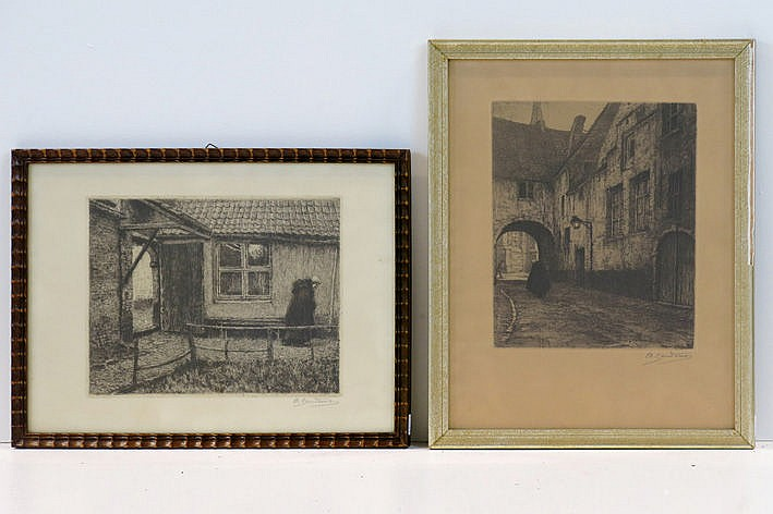 2 etchings - signed