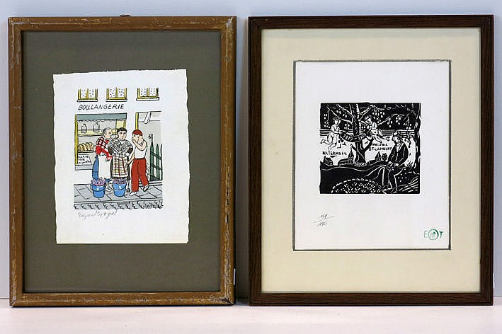lino cut marked with atelier stamp and a print in colors signed in the print