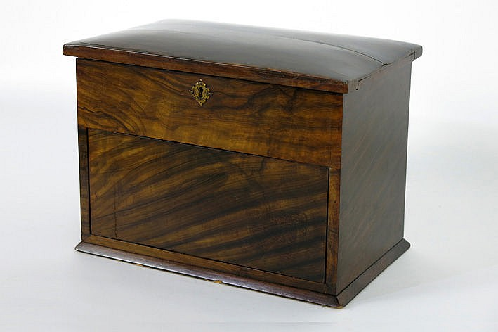 small antique sewing box with fold-out sheet and rotatable small work cabinet