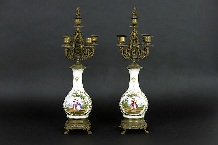 pair of 19th Century candelabra in porcelain and guilded zamac