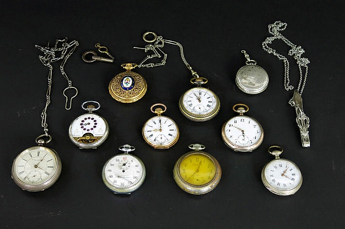several old and antique pocket watches