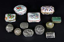 12 pill boxes 5 in porcelain and 3 in silver