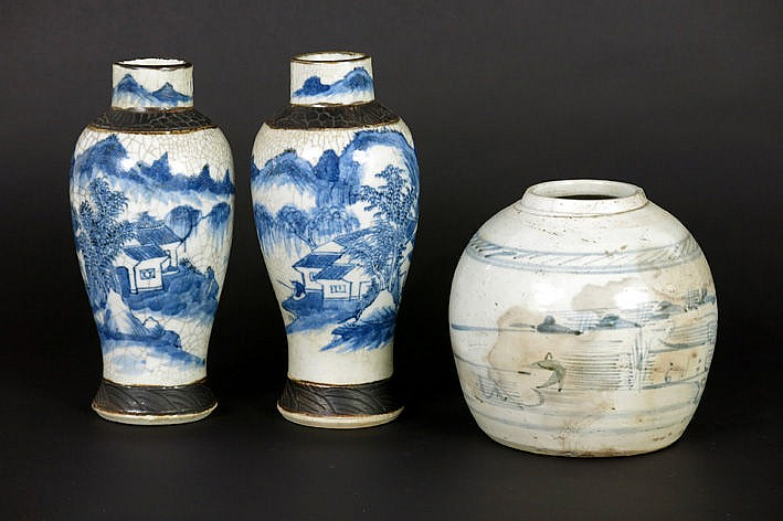 pair of Chinese vases in marked porcelain & an antique Chinese ginger jar in marked porcelain - with blue white decor