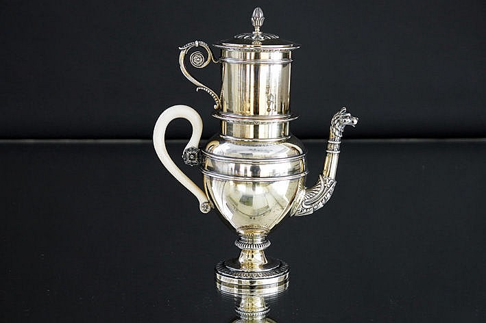 small Empire style mokka-pot on heater in marked silver and with grip in ivory