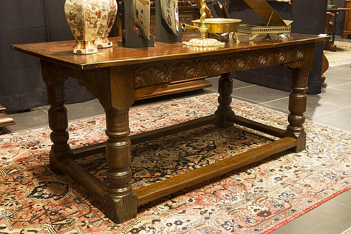 antique English Jacobean style refectory table in oak