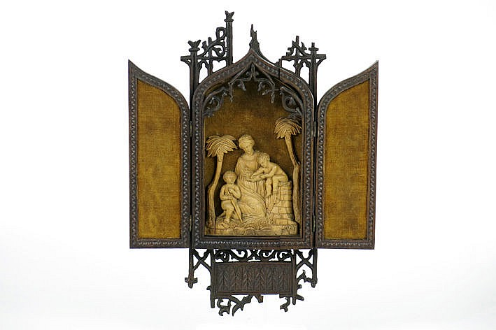 antique neogothic triptych in finely sculpted palmwood