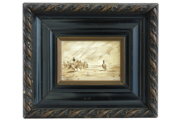 framed work with a typical theme engraved in ivory - signed