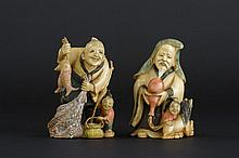 2 small Chinese sculptures in partially polychromed ivory