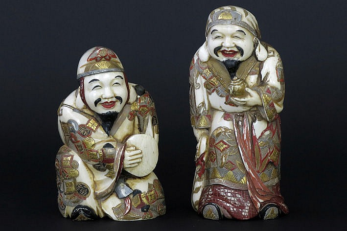 2 Chinese sculptures in polychromed ivory