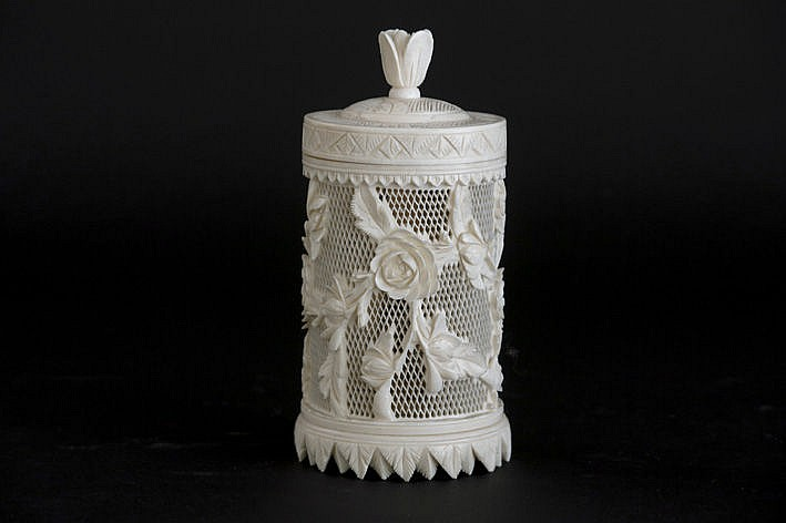 antique Chinese lidded box in ivory