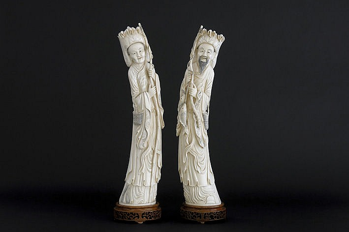 pair of quite big Chinese sculptures in ivory
