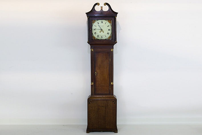 early 19th cent. standing clock with cupboard in oak and mahogany and work signed  'Owen Davies Llanidloes'