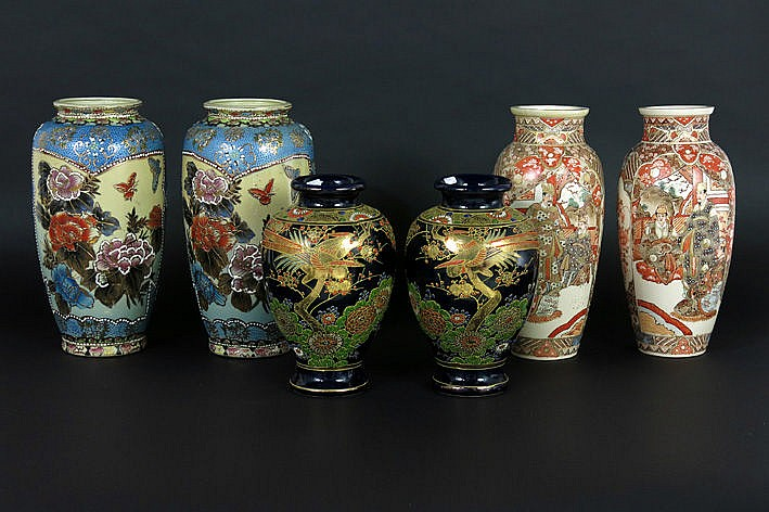 3 pairs (�) of Japanese Satsuma vases in earthenware