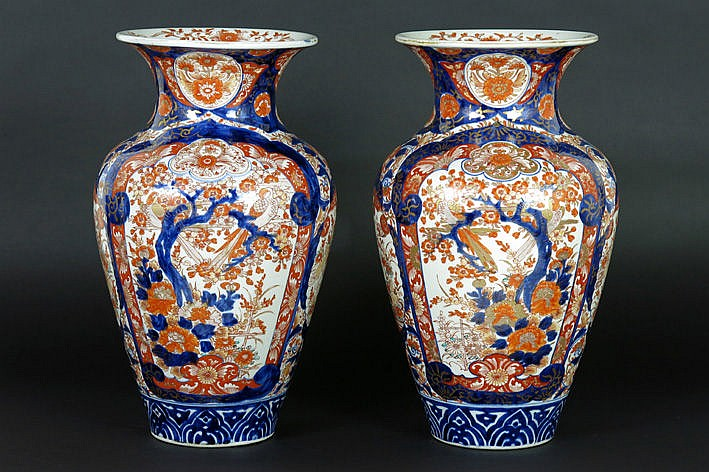 19th Cent. pair of Japanese vases in porcelain