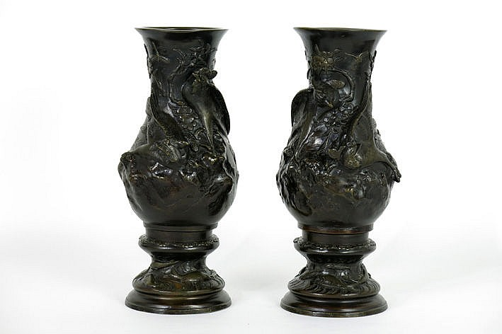pair of oriental vases in bronze