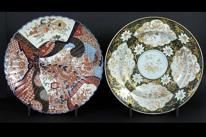 two quite big antique Japanese dishes in porcelain with Imari-decor