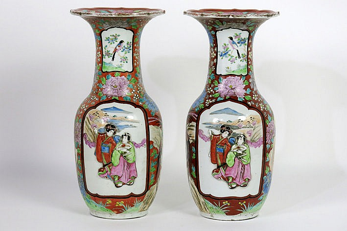 pair of antique Japanese vases in marked porcelain