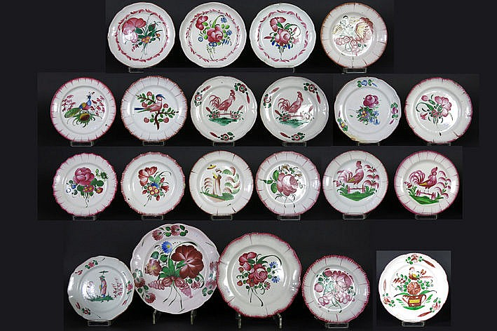 quite big lot of 21 French earthenware dishes
