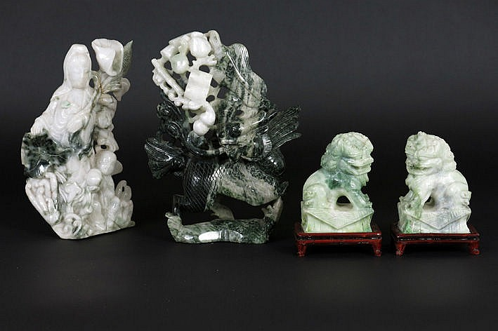 4 Chinese sculptures in jade