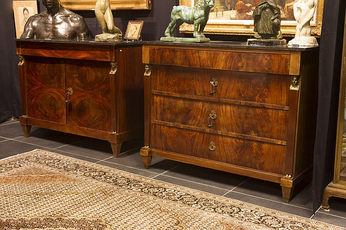 antique set (�) of an Empire chest of drawers with 4 drawers and a sideboard in mahogany with flat pilasters with busts of  women in bronze - each with marble top