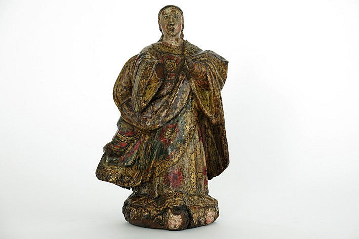 early 18th Cent. Flemish wooden sculpture with rich quite well preserved polychromy - with certificate