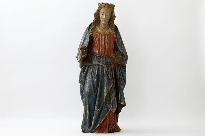 good 14th/15th Cent. Flemish gothic sculpture in oak with its original polychromy
