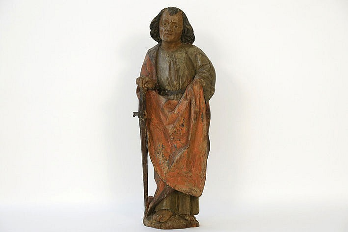 good 15th/16th Cent. Flemish gothic sculpture in wood with a quite rare representaion of Saint Paul and with its original polychromy