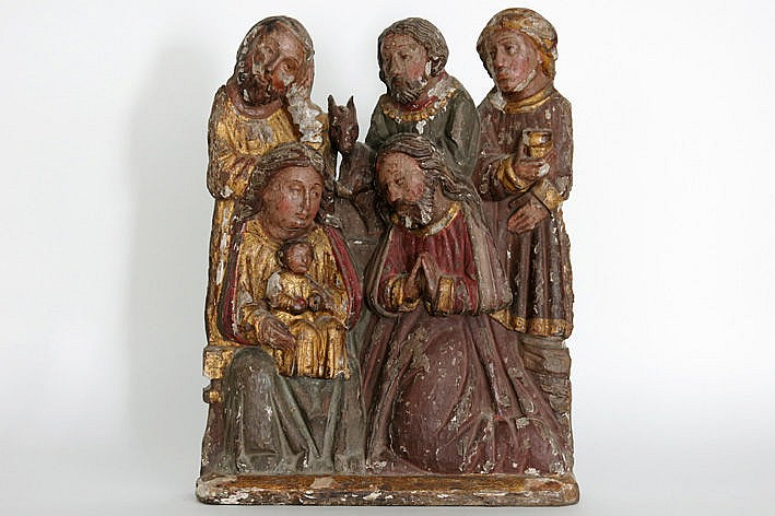 early 15th Cent. French/Pyrenees characteristic scupture in wood  with original polychrome and with 6 figures a cow and a donkey :